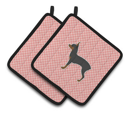 Toy Fox Terrier Checkerboard Pink Pair of Pot Holders