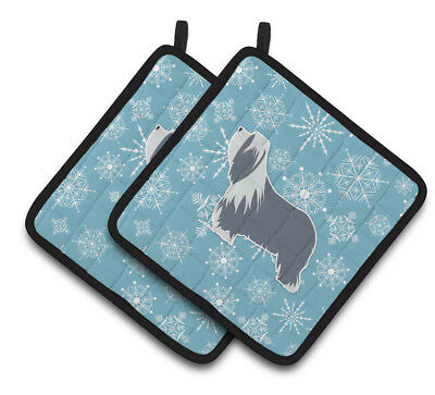 Winter Snowflake Bearded Collie Pair of Pot Holders