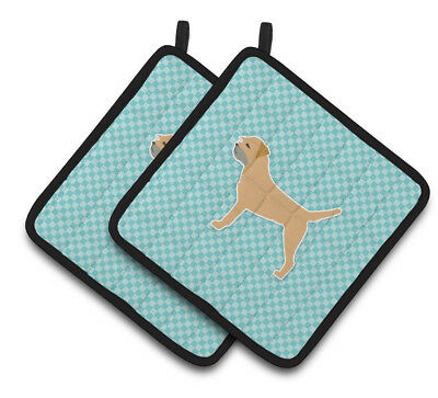 Border Terrier  Checkerboard Blue Pair of Pot Holders