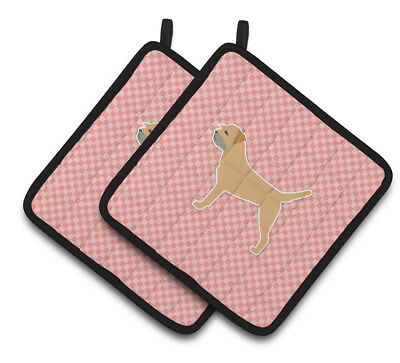 Border Terrier Checkerboard Pink Pair of Pot Holders