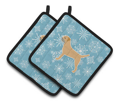 Winter Snowflake Border Terrier Pair of Pot Holders