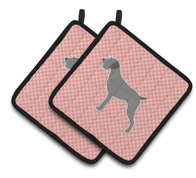 German Wirehaired Pointer Checkerboard Pink Pair of Pot Holders