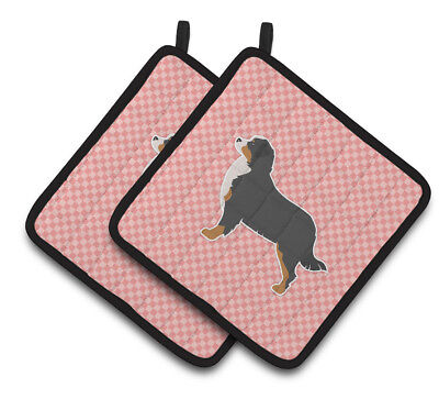 Bernese Mountain Dog Checkerboard Pink Pair of Pot Holders