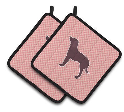 American Water Spaniel Checkerboard Pink Pair of Pot Holders