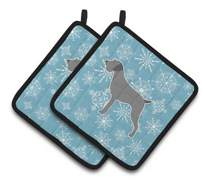 Winter Snowflake German Wirehaired Pointer Pair of Pot Holders