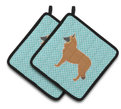 Belgian Shepherd Checkerboard Blue Pair of Pot Holders