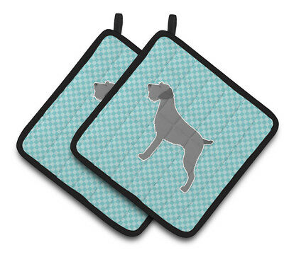 German Wirehaired Pointer Checkerboard Blue Pair of Pot Holders