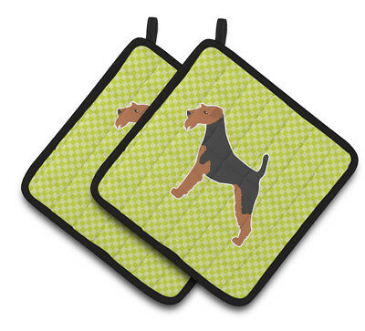 Airedale Terrier Checkerboard Green Pair of Pot Holders