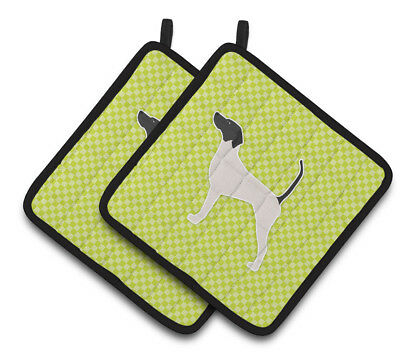 English Pointer Checkerboard Green Pair of Pot Holders
