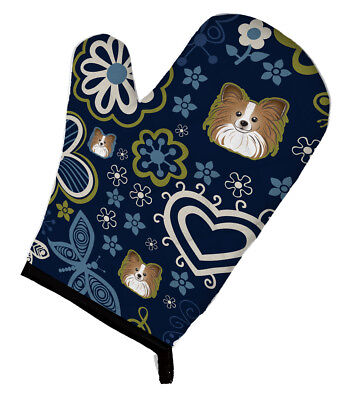 Carolines Treasures  BB5099OVMT Blue Flowers Papillon Oven Mitt