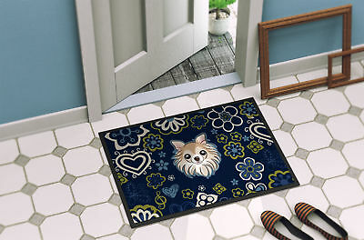 Blue Flowers Chihuahua Indoor or Outdoor Mat 24x36