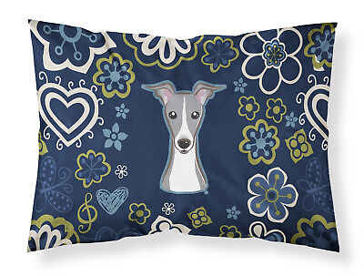 Blue Flowers Italian Greyhound Fabric Standard Pillowcase