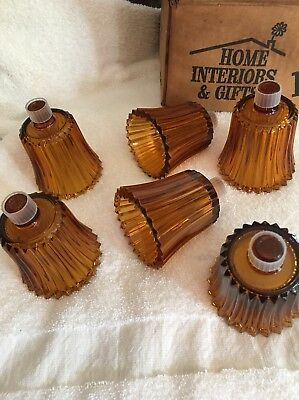 6 HOME INTERIORS Amber RIBBED VOTIVE CUP w/ rubber grommet