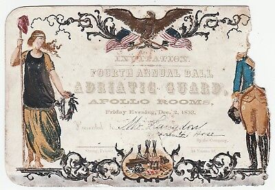 RARE Embossed Ball Card - NY Fireman 31 Adriatic Guards & 41 Hose Co 1853 - FDNY