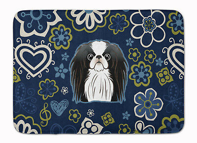 Blue Flowers Japanese Chin Machine Washable Memory Foam Mat