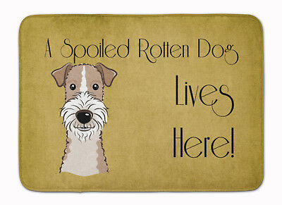 Wire Haired Fox Terrier Spoiled Dog Lives Here Machine Washable Memory Foam Mat