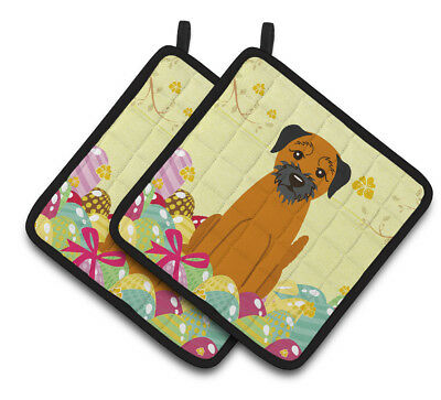 Carolines Treasures  BB6039PTHD Easter Eggs Border Terrier Pair of Pot Holders