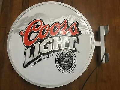 """1999 Coors Light Two Sided Round Indoor Lighted Sign - 18"""" Diameter"""