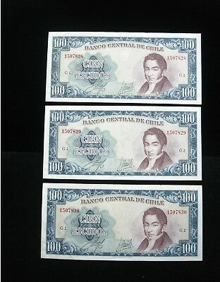 CHILE 100 ESCUDOS 1962 1975 P141 CONSECUTIVE 3x 46# CURRENCY BANKNOTE MONEY