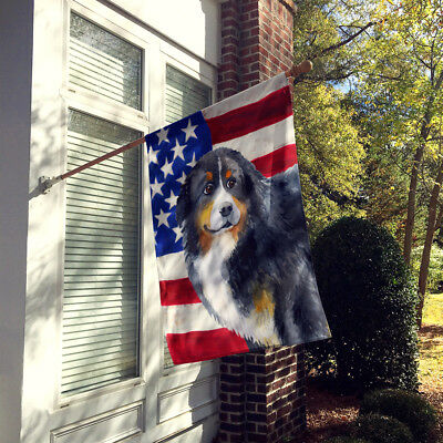 Bernese Mountain Dog Patriotic Flag Canvas House Size