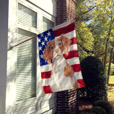 Carolines Treasures  BB9364CHF Brittany Spaniel Patriotic Flag Canvas House Size