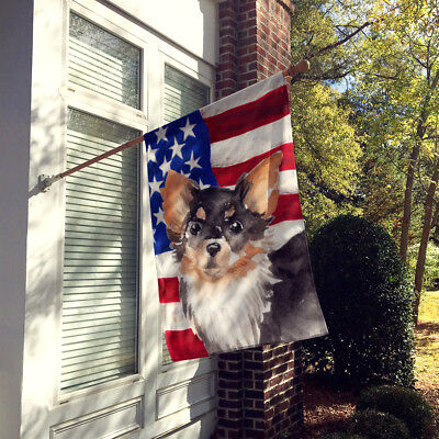 Long Haired Chihuahua Patriotic Flag Canvas House Size