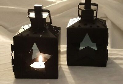 Pair Of Decorative  Small Black Lanterns, Tealight Candle Holder, Star Design