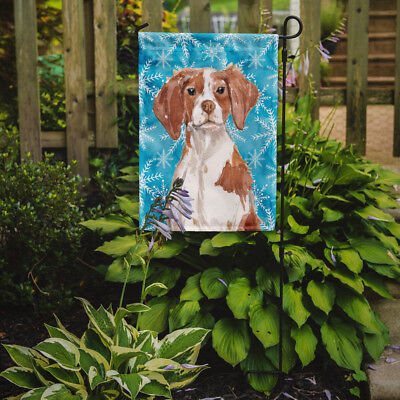 Carolines Treasures  BB9434GF Brittany Spaniel Winter Flag Garden Size