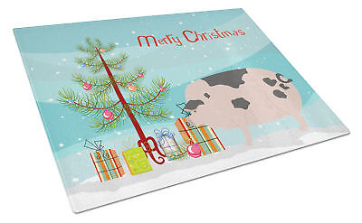 Gloucester Old Spot Pig Christmas Glass Cutting Board Large