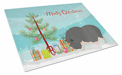 Vietnamese Pot-Bellied Pig Christmas Glass Cutting Board Large