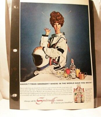 Vintage Print Ad * Smirnoff Vodka * Where in the World have you been?