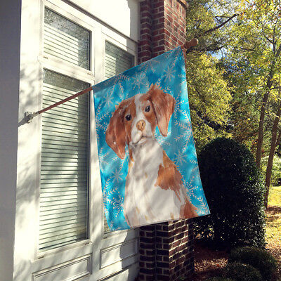 Carolines Treasures  BB9434CHF Brittany Spaniel Winter Flag Canvas House Size