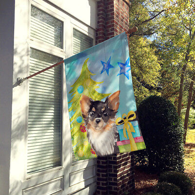 Long Haired Chihuahua Christmas Flag Canvas House Size