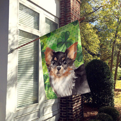 Long Haired Chihuahua St. Patrick's Flag Canvas House Size