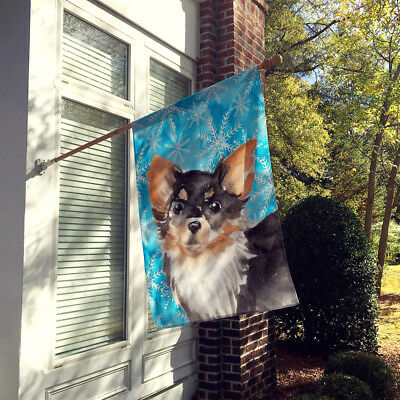 Long Haired Chihuahua Winter Flag Canvas House Size