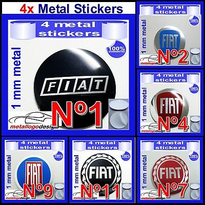 METAL STICKERS WHEELS CENTER CAPS FIAT 40mm to 120mm type a 4pcs