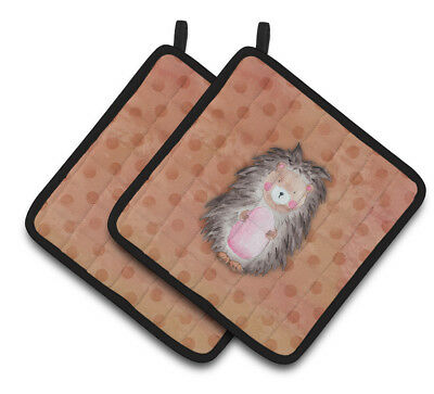 Carolines Treasures  BB7378PTHD Polkadot Hedgehog Watercolor Pair of Pot Holders