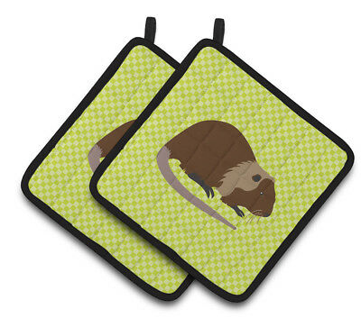 Carolines Treasures  BB7705PTHD Coypu Nutria River Rat Green Pair of Pot Holders