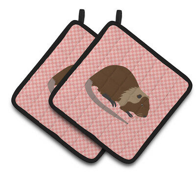 Coypu Nutria River Rat Pink Check Pair of Pot Holders