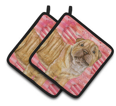 Carolines Treasures  BB9806PTHD Shar Pei Puppy Love Pair of Pot Holders