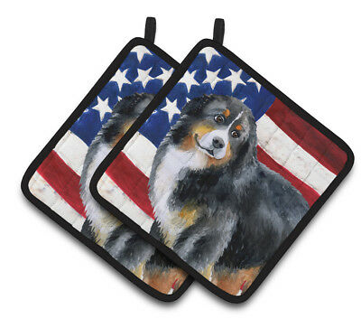 Bernese Mountain Dog Patriotic Pair of Pot Holders