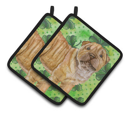 Carolines Treasures  BB9893PTHD Shar Pei Puppy St Patrick's Pair of Pot Holders
