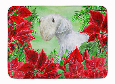 Sealyham Terrier Poinsettas Machine Washable Memory Foam Mat