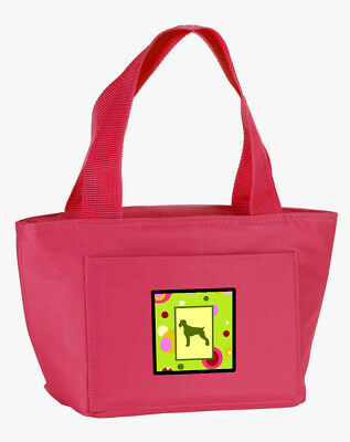 Lime Green Dots German Wirehaired Pointer  Lunch Bag