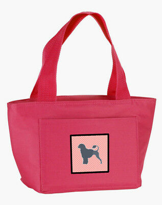 Portuguese Water Dog Checkerboard Pink Lunch Bag