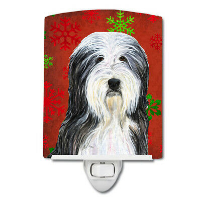 Bearded Collie Red and Green Snowflakes Holiday Christmas Ceramic Night Light
