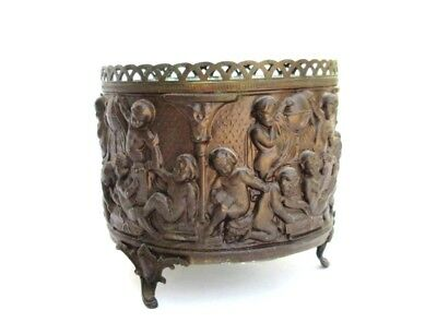 Antique French Bronze Brass Three Legged Repousse Cherub Jardiniere Planter