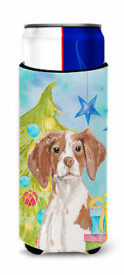 Brittany Spaniel Christmas Michelob Ultra Hugger for slim cans