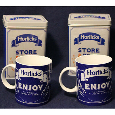 Pair Of Horlicks Enjoy Mugs Plus 2x Store /& Pour Empty Storage Tin Brand New