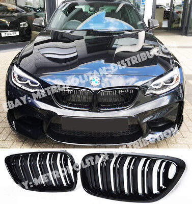 BMW 2,F22/F23/F87,coupe/convertible,dual/double bar,M2 look grille,Gloss Black